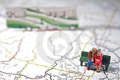 Elderly couple travels by RV