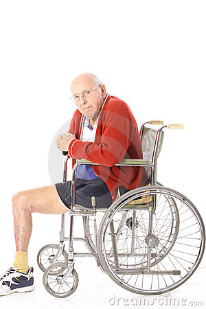 Elderly disabled man in wheelchair