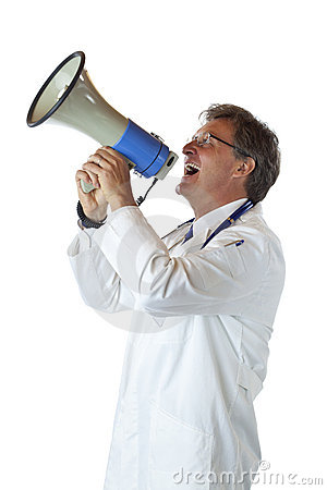 Elderly doctor screams loudly in megaphone