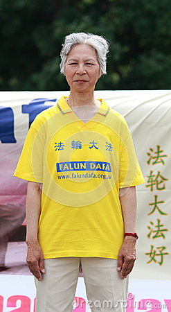 Elderly Falun Dafa Woman Editorial Stock Image