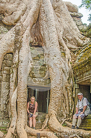Elderly father and daughter in Angkor Wat complex