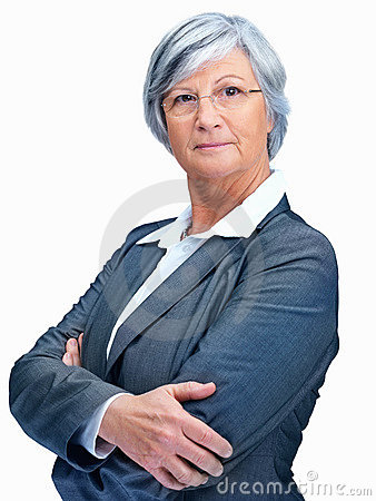 Elderly female executive with arms folded