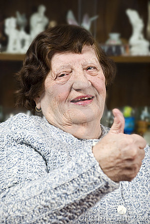 Elderly giving thumbs up