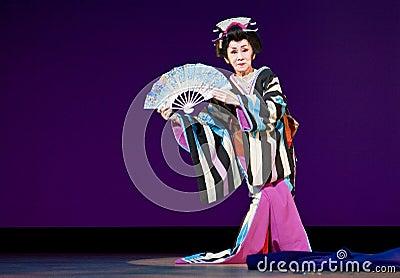 Elderly Japanese Festival Dancer Editorial Photo