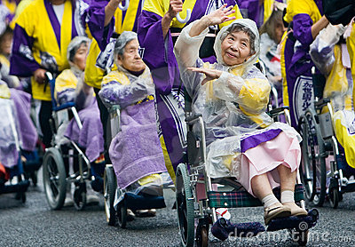 Elderly Japanese Festival Dancers in wheelchairs Editorial Stock Image