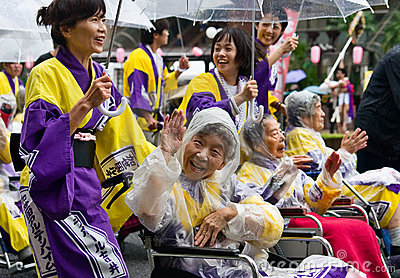 Elderly Japanese Festival Dancers in wheelchairs Editorial Photography