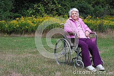 Elderly lady in a wheelchair