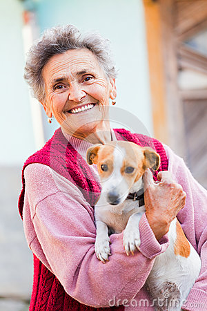 Free Elderly Lady With Pet Stock Photos - 34933453