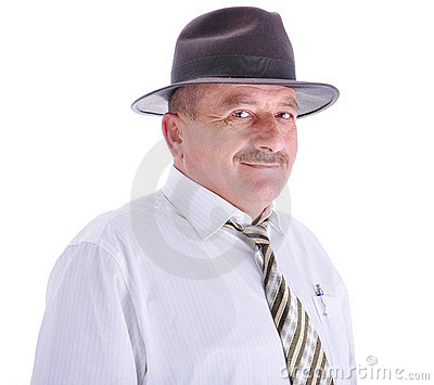 Elderly male person with a hat