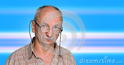 Elderly man on a blue abstract background