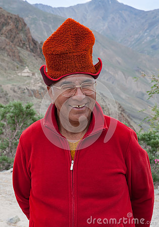 Free Elderly Man Buddhist Monk Wearing Tibetian Hat Kasa, Ladakh, North India Royalty Free Stock Photos - 80979098