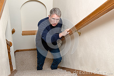 Elderly Man Climb Stairs, Scared, Confused Stock Photo ...