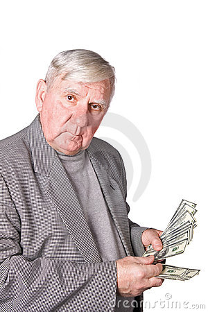 Free Elderly Man Considers Money Stock Photo - 12958860