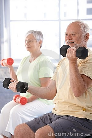 Free Elderly Man Exercising With Dumbbells Stock Photos - 20855433