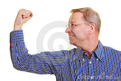 Elderly man flexing his muscles