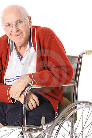 Elderly man with leg amputation
