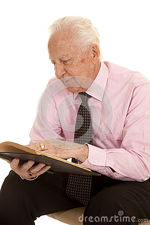 Elderly Man Pink Shirt Behind Book Stock Photography - Image: 38301242