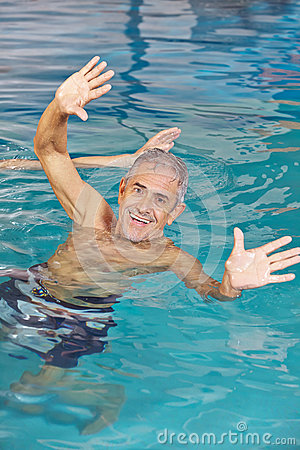 Free Elderly Man Playing Water Ball In Swimming Pool Royalty Free Stock Photography - 52429607