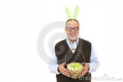 Elderly man with rabbit ears