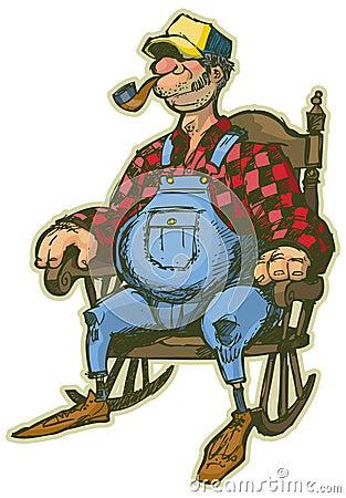 Elderly Man In Rocking Chair Vector Cartoon Royalty Free