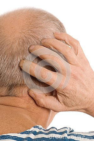 The elderly man scratches a nape