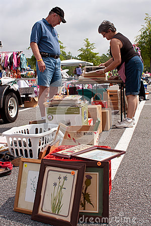 Elderly Man Shops At Large Garage Sale Editorial Photography