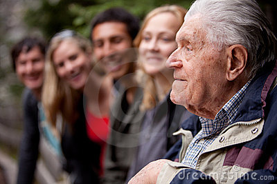 Elderly Man Telling Stories