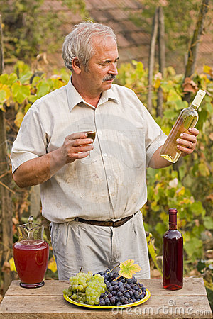 Elderly Man With Wine
