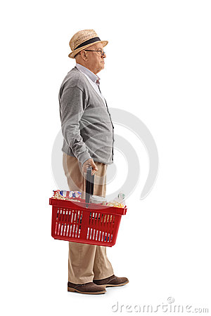 Free Elderly Man With A Shopping Basket Waiting In Line Stock Photos - 92589463