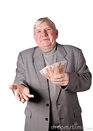 Free Elderly Man With Money In Hands Stock Image - 13674371