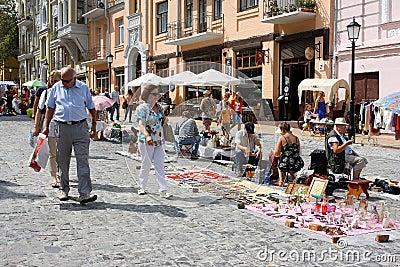 Elderly men and women walking around Holiday Fair Editorial Image