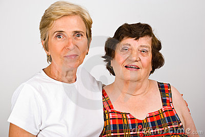 Elderly mother with mature daughter