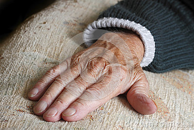 Elderly old persons hand