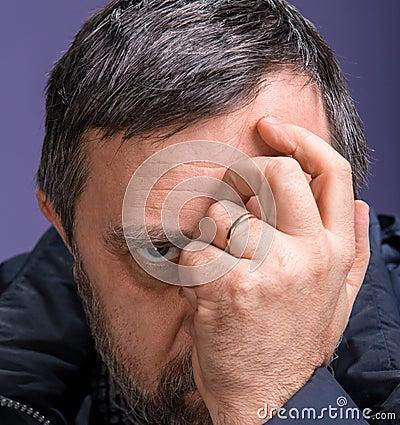 Elderly pensive man