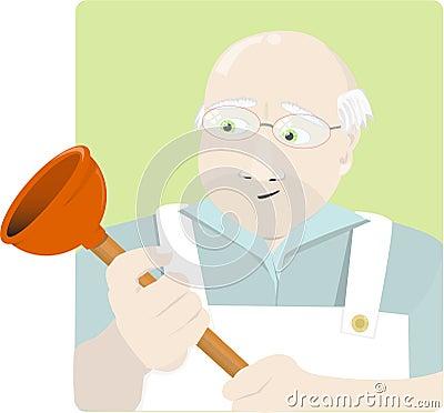 Elderly plumber