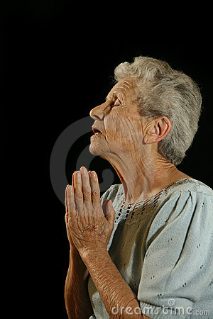 Elderly Praying Caucasian Woman