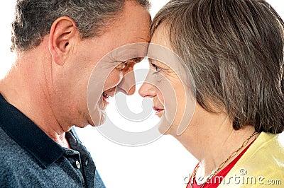 Elderly romantic couple, closeup shot