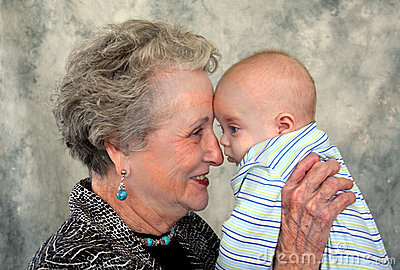 Elderly Senior and Baby