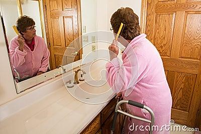 Elderly Senior Woman Brushing Hair Stock Photo Image 64292097