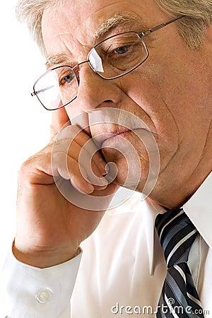 Elderly solid unhappy man