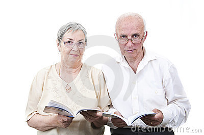 Elderly teachers with books