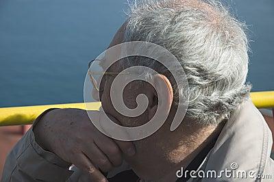 Elderly tourist close up in Naples