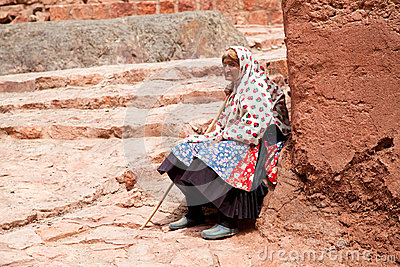 Elderly woman in Abyaneh, Iran Editorial Photography