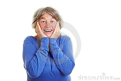Elderly woman in amazement