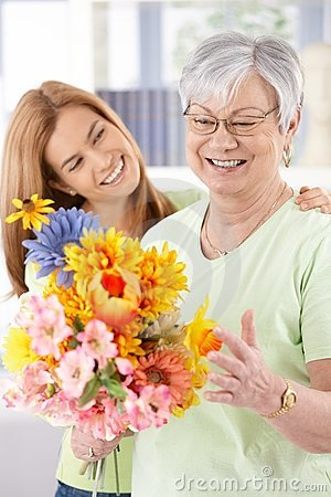 Free Elderly Woman And Daughter Smiling Happily Stock Image - 19019001