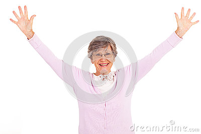 Elderly woman arms open