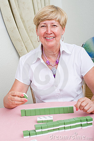 Elderly woman board game