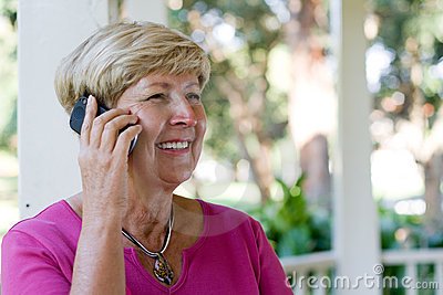 Elderly woman on cellphone