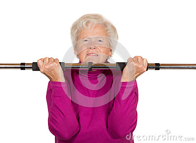 Elderly woman doing a workout