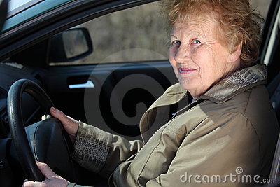 Elderly woman-driver